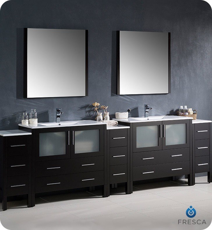 Fresca fvn62 108es uns torino 108 inch espresso modern - Double sink bathroom vanities and cabinets ...