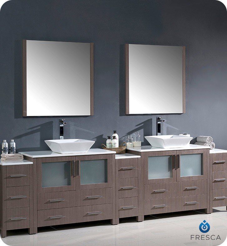 Fresca Fvn62 108go Vsl Torino 108 Inch Gray Oak Modern Double Sink Bathroom Vanity W 3 Side