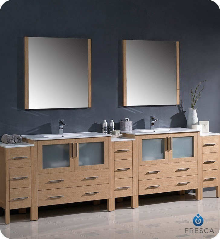 Fresca Fst6260lo Torino Light Oak Tall Bathroom Linen Side Cabinet Fresca Bathroom Linen Side