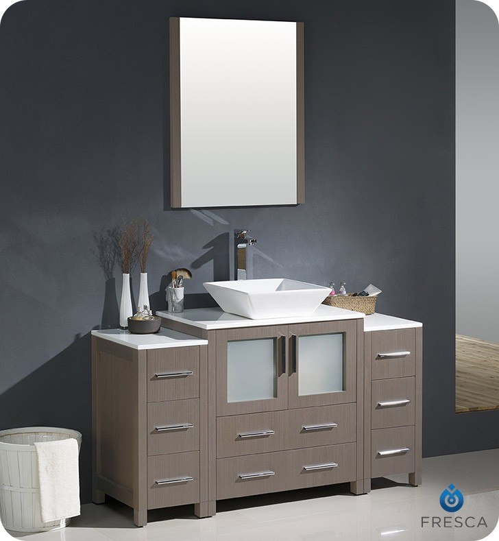 Fresca FVN62 123012GO VSL Torino 54 Inch Gray Oak Modern Bathroom Vanity w. Fresca FST6260GO Torino Gray Oak Tall Bathroom Linen Side Cabinet