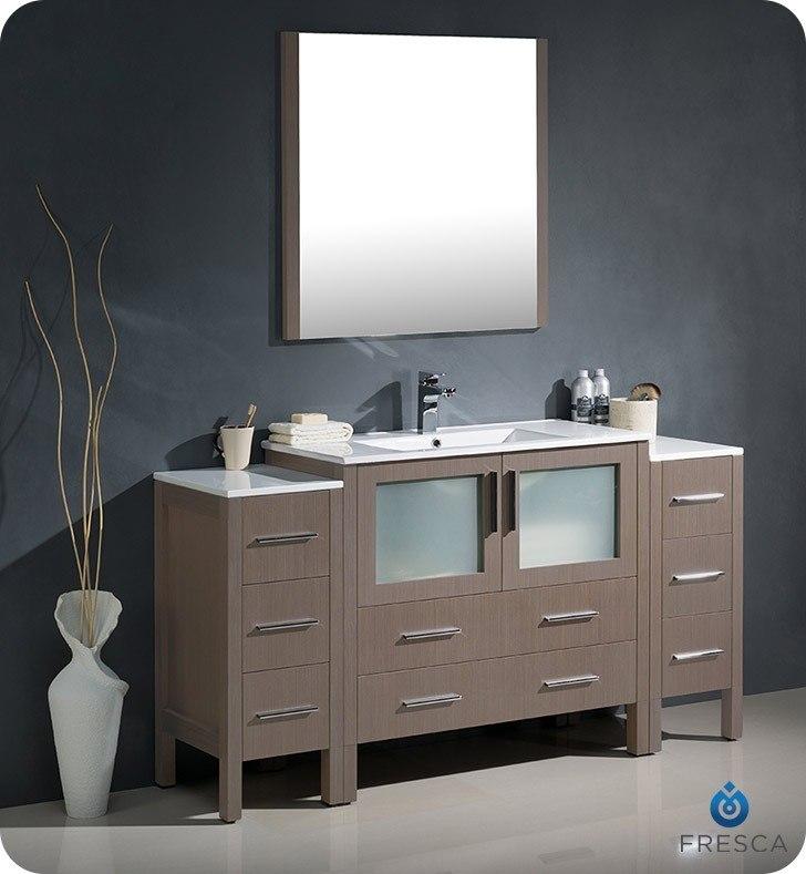 Fresca FVN62 123612GO UNS Torino 60 Inch Gray Oak Modern Bathroom Vanity w. Fresca FST6260GO Torino Gray Oak Tall Bathroom Linen Side Cabinet