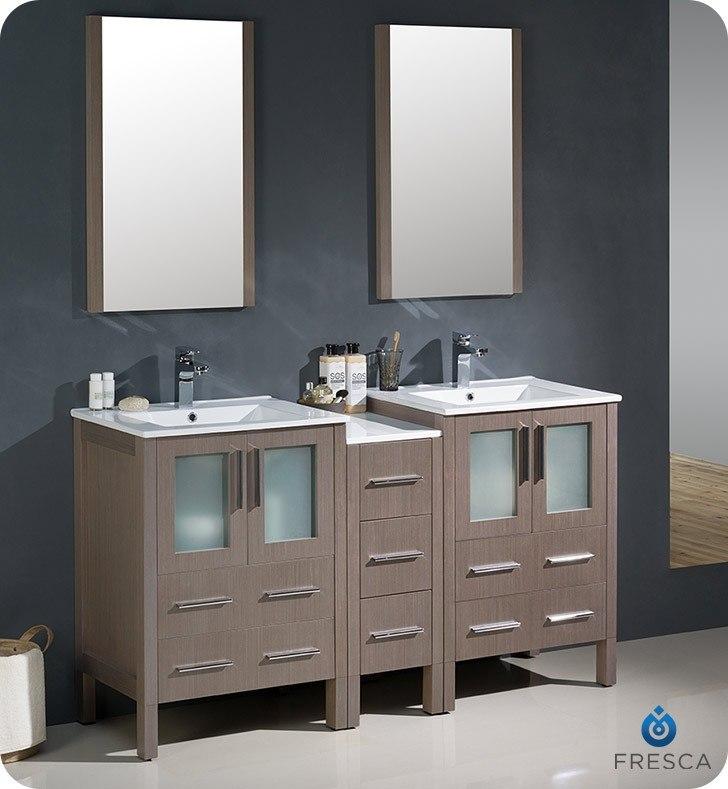 modern double sink bathroom vanity w side cabinet integrated sinks