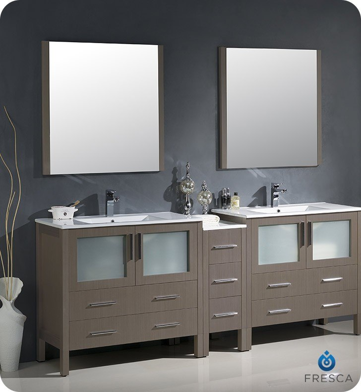 Fresca FVN62 361236GO UNS Torino 84 Inch Gray Oak Modern Double Sink Bathroom