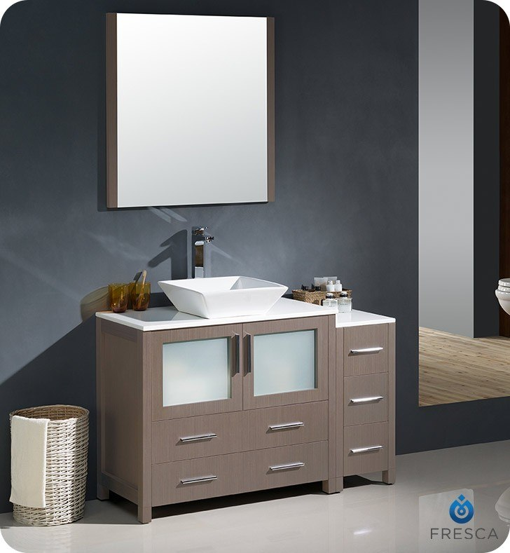 Fresca Fvn62 3612go Vsl Torino 48 Inch Gray Oak Modern Bathroom Vanity W Side Cabinet Vessel