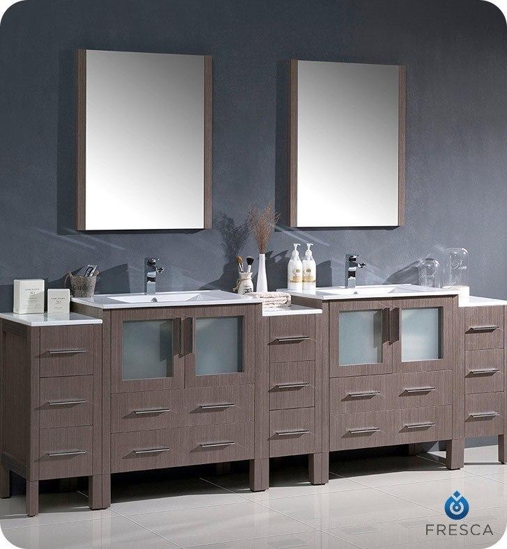 Fresca Fvn62 96go Uns Torino 96 Inch Gray Oak Modern Double Sink Bathroom Vanity W 3 Side
