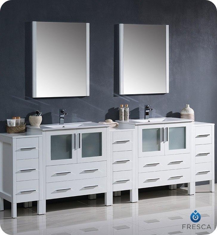 Fresca FVN62 96WH UNS Torino 96 Inch White Modern Double Sink Bathroom Vanity