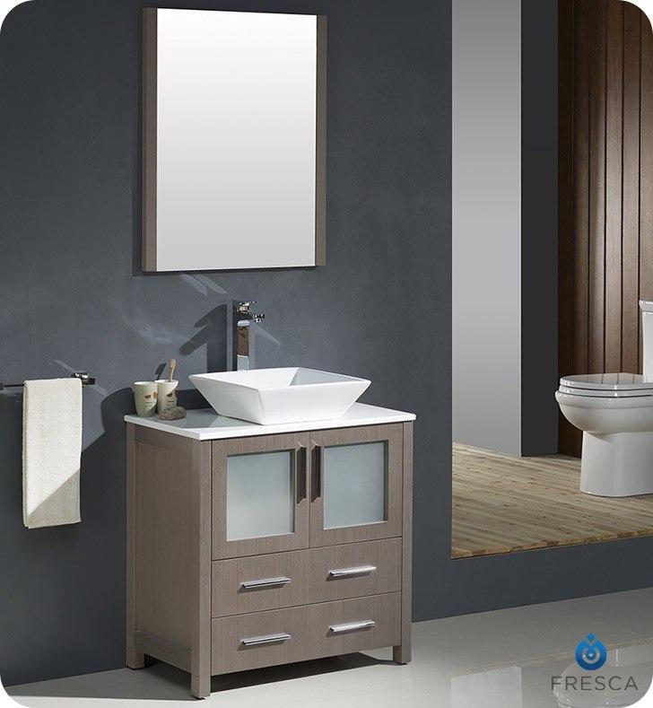 Fresca fvn6230go vsl torino 30 inch gray oak modern for Gray 30 inch bathroom vanity