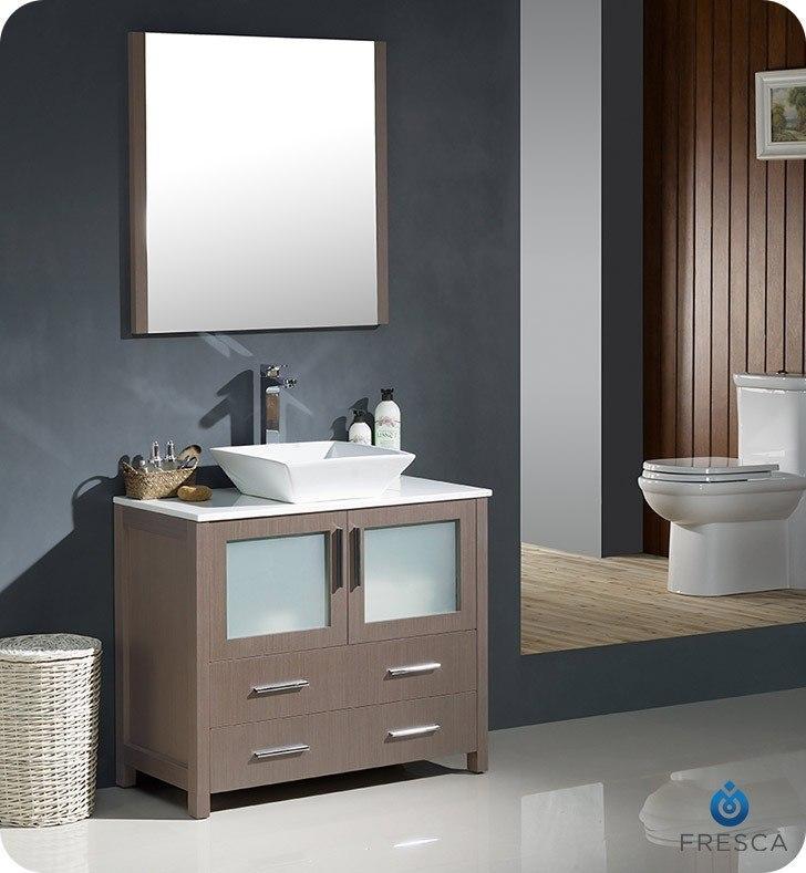 Fresca fvn6236go vsl torino 36 inch gray oak modern bathroom vanity w vessel sink fvn6236go vsl for 36 inch espresso bathroom vanity