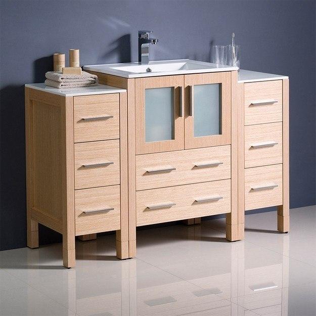 Fresca Fcb62 122412lo I Torino 48 Inch Light Oak Modern Bathroom Cabinets With Integrated Sink