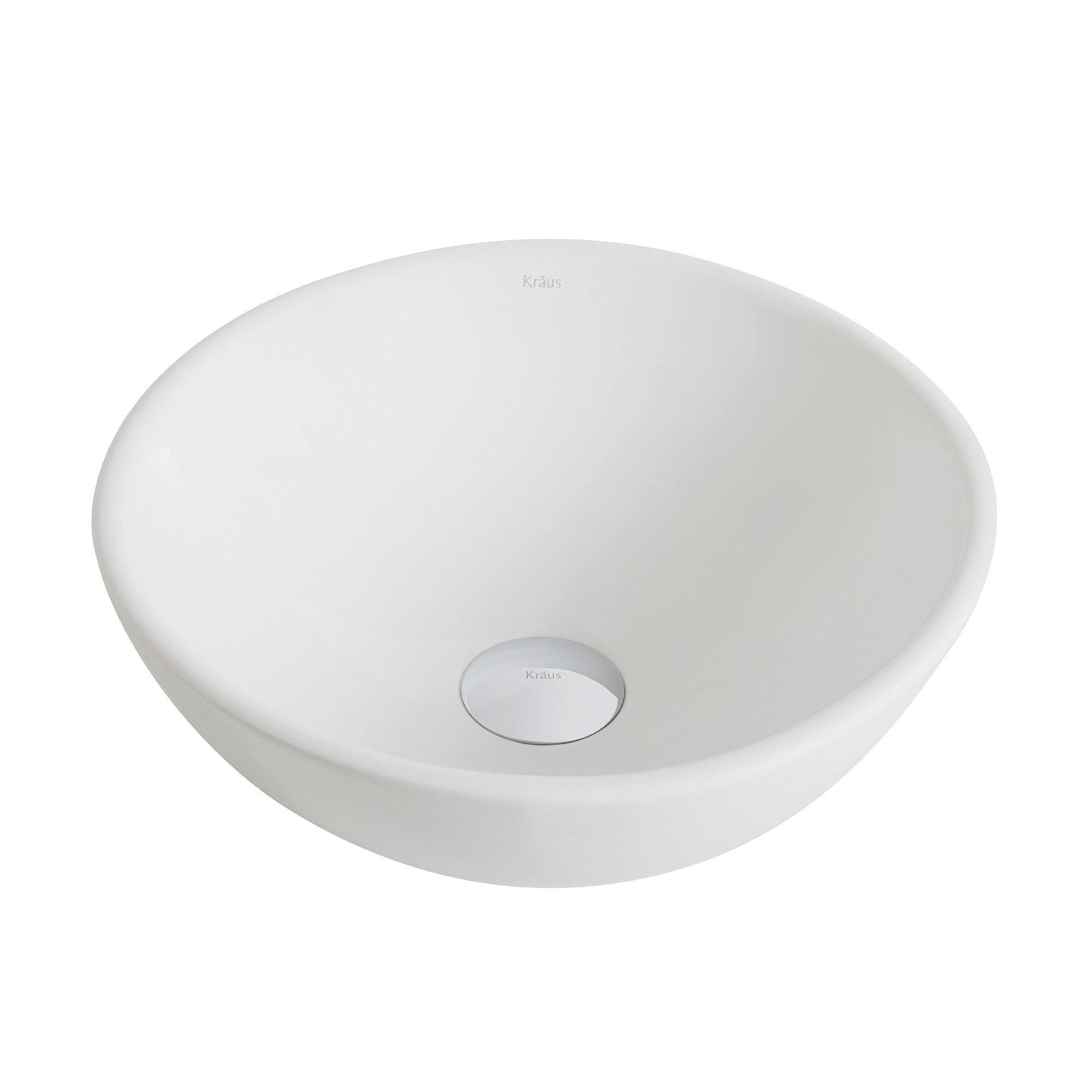 Kraus Kcv341 Elavo White Ceramic Small Round Vessel