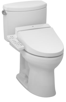 Toto MW4542034CEFG#01 Drake II Connect+ C100 Two-Piece Toilet, 1.28 GPF with SanaGloss