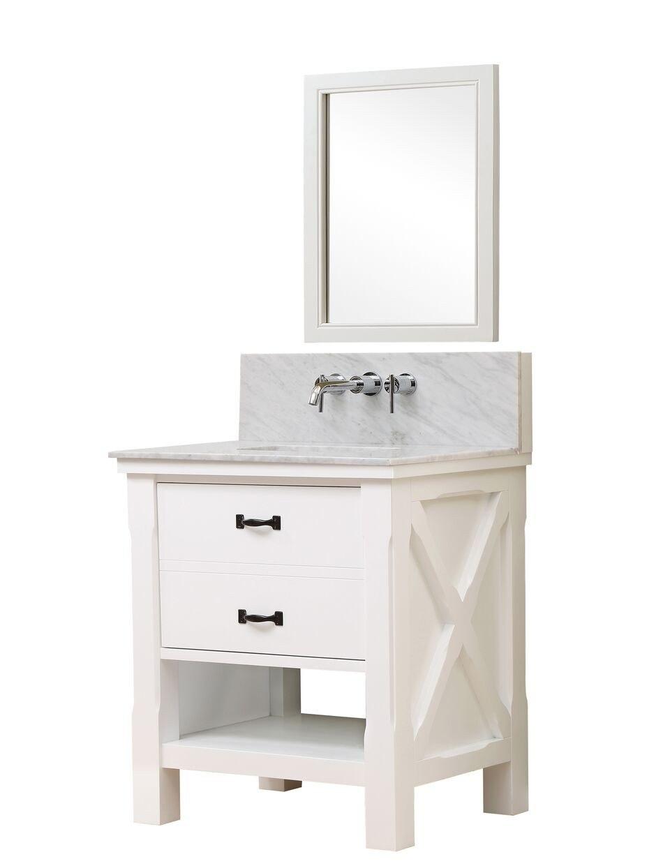 Direct Vanity Sink 32S1-WWC-WM Xtraordinary Spa Premium 32 Inch White vanity with Carrera White Marble Top