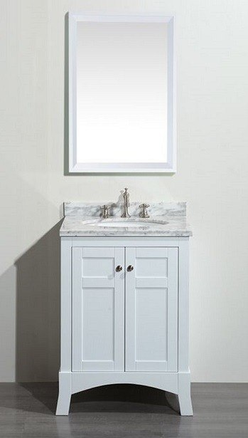 Eviva Evvn514 24wh New York 24 Inch White Bathroom Vanity With White Marble Carrera Counter Top