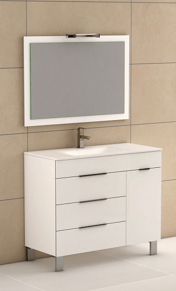 39 inch white modern bathroom vanity with white integrated porcelain