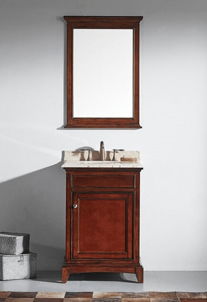 Eviva EVVN709 30TK Elite Stamford 30 Inch Brown Solid Wood Bathroom Vanity Se