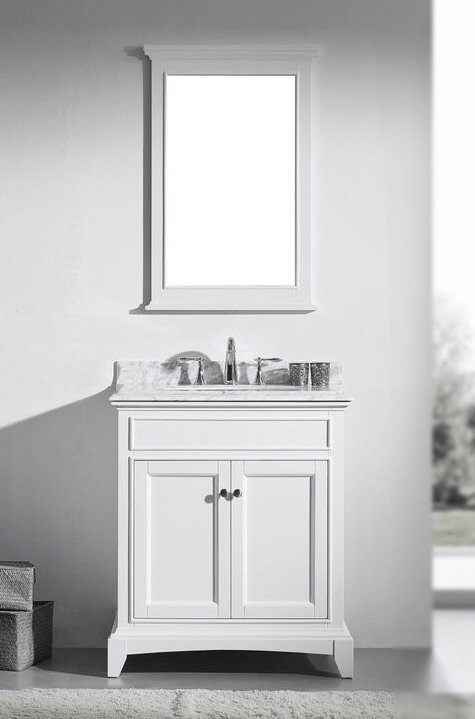 Eviva evvn709 30wh elite stamford 30 inch white solid wood - 30 inch white bathroom vanity with sink ...