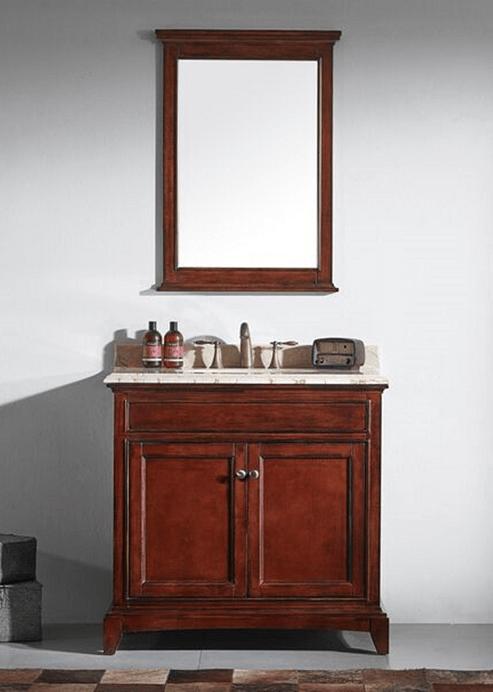 Eviva Evvn709 36tk Elite Stamford 36 Inch Brown Solid Wood Bathroom Vanity Set With Double Og
