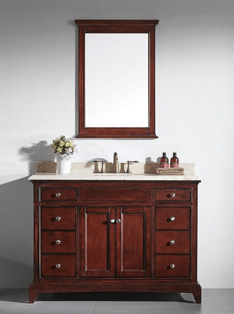 Eviva EVVN709 48TK Elite Stamford 48 Inch Brown Solid Wood Bathroom Vanity Se
