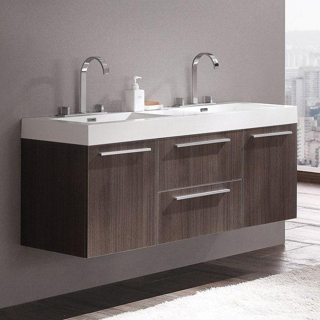 Fresca FCB8013GO-I Opulento Gray Oak Modern Double Sink Bathroom Cabinet with Integrated Sinks