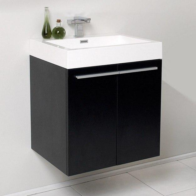 Fresca FCB8058BW-I Alto Black Modern Bathroom Cabinet with Integrated Sink