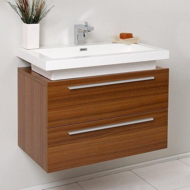 fresca fcb8080tk i medio teak modern bathroom cabinet with vessel sink