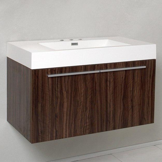fcb8090gw i vista walnut modern bathroom cabinet with integrated sink