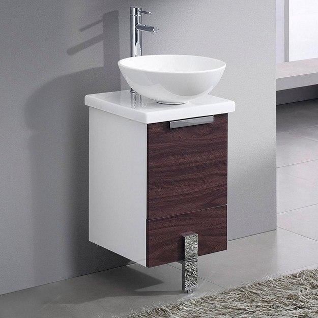 16 inch dark walnut modern bathroom cabinet with top and vessel sink