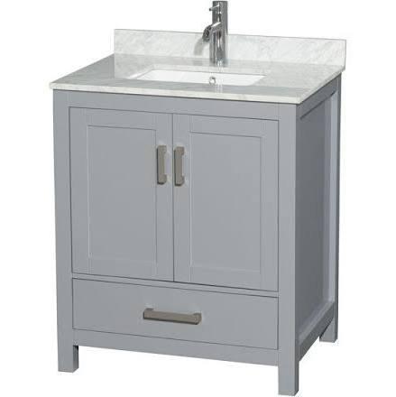 Wyndham collection wcs141430sgycmunsmxx sheffield 30 inch for Gray 30 inch bathroom vanity