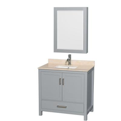 Wyndham Collection WCS141436SGYIVUNSMED Sheffield 36 Inch Single Bathroom Vanity in Gray