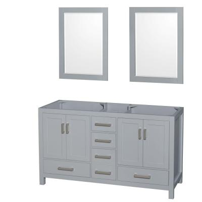 Wyndham Collection WCS141460DGYCXSXXM24 Sheffield 60 Inch Double Bathroom Vanity in Gray
