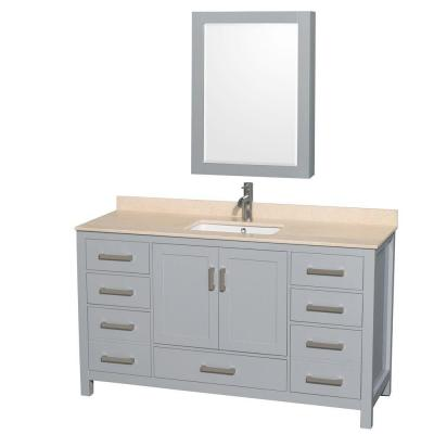 Wyndham Collection WCS141460SGYIVUNSMED Sheffield 60 Inch Single Bathroom Vanity in Gray
