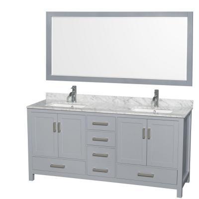 Wyndham collection wcs141472dgycmunsm70 sheffield 72 inch double bathroom vanity in gray for Sheffield 72 double bathroom vanity