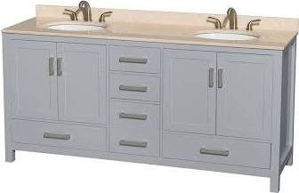 Wyndham collection wcs141472dgyivunomxx sheffield 72 inch double bathroom vanity in gray for Sheffield 72 double bathroom vanity