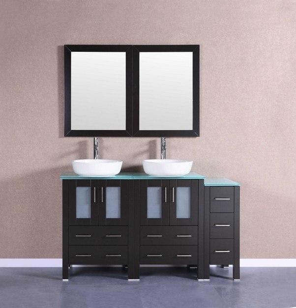 Bosconi AB224BWLCWG1S 60 Inch Double Vanity Set in Espresso