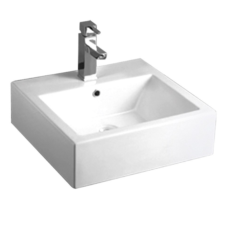 Square Wall Mounted Basin : Whitehaus WHKN1059 Isabella 19-5/8 Inch Square Wall Mount Basin