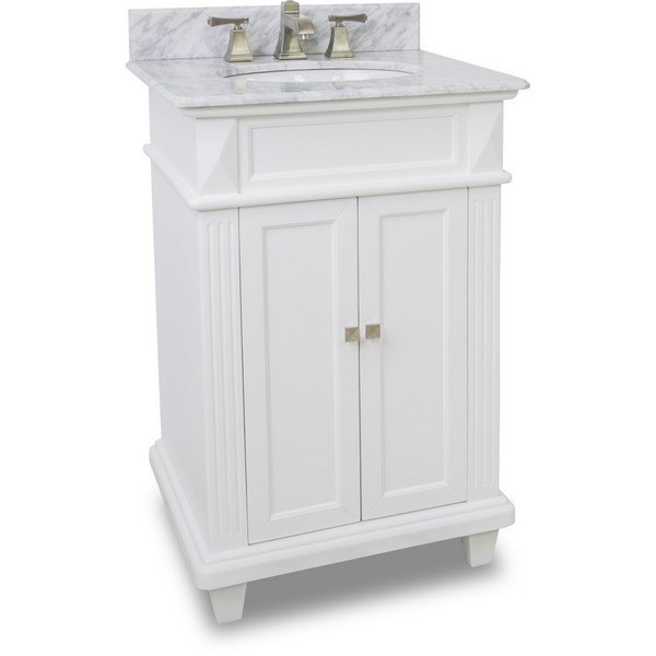 Hardware Resources VAN094-T-MW Douglas 24 Inch White Vanity with Preassembled Top and Bowl