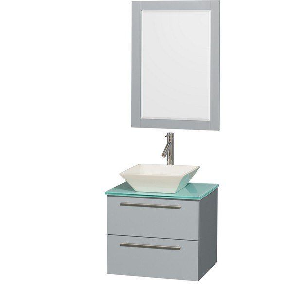 Wyndham Collection WCR410024SDGGGD2BM24 Amare 24 Inch Single Bathroom Vanity in Dove Gray, Green Glass Countertop, Pyra Bone Porcelain Sink, and 24 Inch Mirror