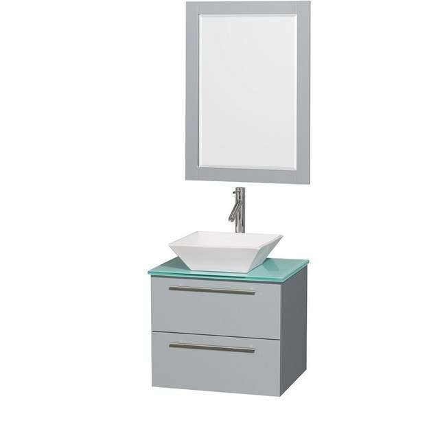 Wyndham Collection WCR410024SDGGGD2WM24 Amare 24 Inch Single Bathroom Vanity in Dove Gray, Green Glass Countertop, Pyra White Porcelain Sink, and 24 Inch Mirror