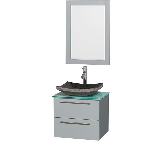 Wyndham Collection WCR410024SDGGGGS1M24 Amare 24 Inch Single Bathroom Vanity in Dove Gray, Green Glass Countertop, Altair Black Granite Sink, and 24 Inch Mirror