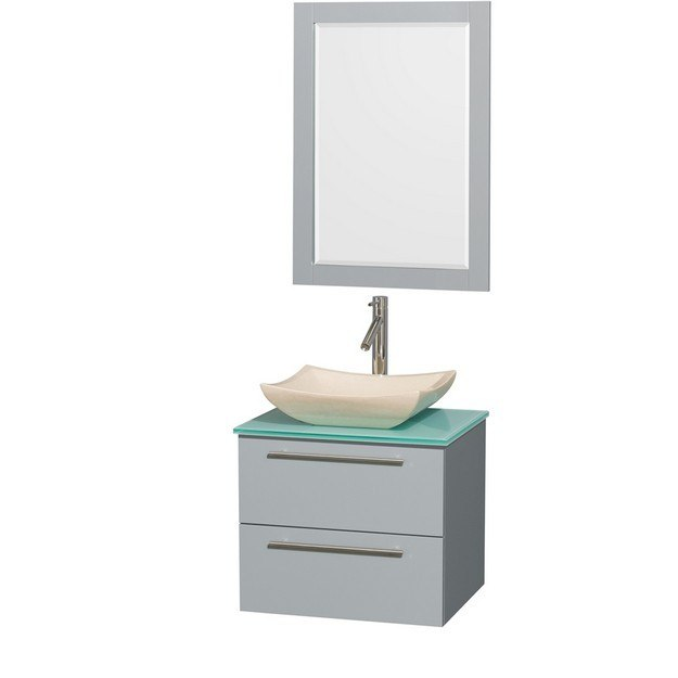 Wyndham Collection WCR410024SDGGGGS2M24 Amare 24 Inch Single Bathroom Vanity in Dove Gray, Green Glass Countertop, Avalon Ivory Marble Sink, and 24 Inch Mirror