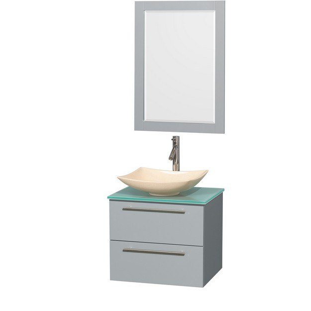 Wyndham Collection WCR410024SDGGGGS5M24 Amare 24 Inch Single Bathroom Vanity in Dove Gray, Green Glass Countertop, Arista Ivory Marble Sink, and 24 Inch Mirror
