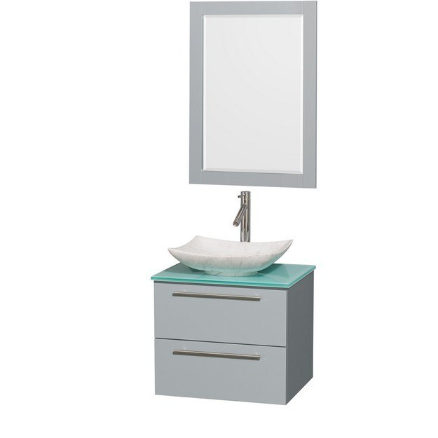 Wyndham Collection WCR410024SDGGGGS6M24 Amare 24 Inch Single Bathroom Vanity in Dove Gray, Green Glass Countertop, Arista White Carrera Marble Sink, and 24 Inch Mirror