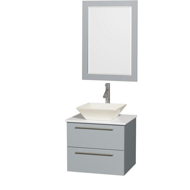Wyndham Collection WCR410024SDGWSD2BM24 Amare 24 Inch Single Bathroom Vanity in Dove Gray, White Man-Made Stone Countertop, Pyra Bone Porcelain Sink, and 24 Inch Mirror