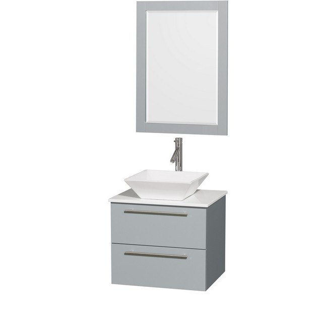 Wyndham Collection WCR410024SDGWSD2WM24 Amare 24 Inch Single Bathroom Vanity in Dove Gray, White Man-Made Stone Countertop, Pyra White Porcelain Sink, and 24 Inch Mirror