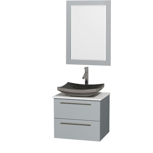 Wyndham Collection WCR410024SDGWSGS1M24 Amare 24 Inch Single Bathroom Vanity in Dove Gray, White Man-Made Stone Countertop, Altair Black Granite Sink, and 24 Inch Mirror