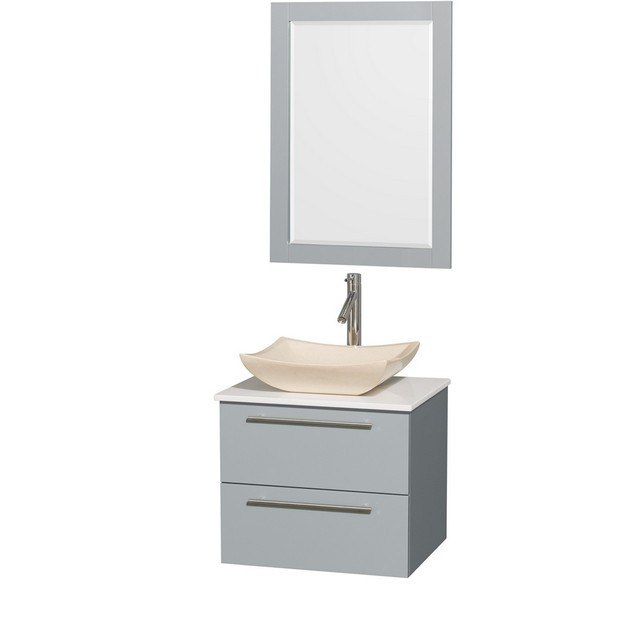 Wyndham Collection WCR410024SDGWSGS2M24 Amare 24 Inch Single Bathroom Vanity in Dove Gray, White Man-Made Stone Countertop, Avalon Ivory Marble Sink, and 24 Inch Mirror