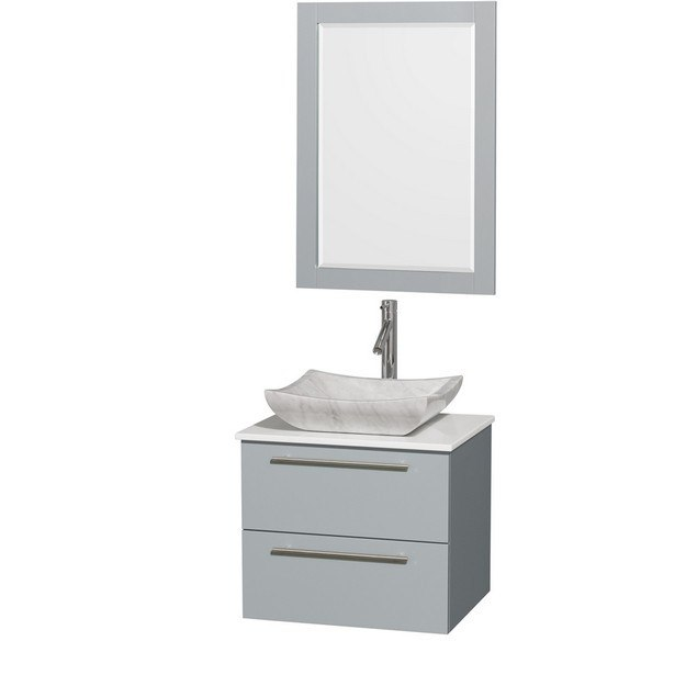 Wyndham Collection WCR410024SDGWSGS3M24 Amare 24 Inch Single Bathroom Vanity in Dove Gray, White Man-Made Stone Countertop, Avalon White Carrera Marble Sink, and 24 Inch Mirror