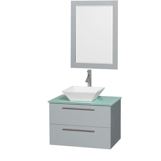 Wyndham collection wcr410030sdgggd2wm24 amare 30 inch - 30 inch white bathroom vanity with sink ...