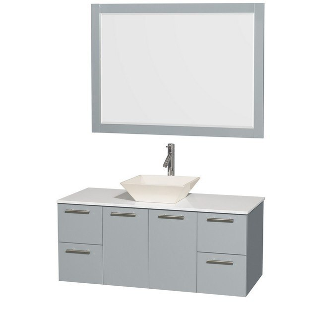 Wyndham Collection WCR410048SDGWSD2BM46 Amare 48 Inch Single Bathroom Vanity in Dove Gray, White Man-Made Stone Countertop, Pyra Bone Porcelain Sink, and 46 Inch Mirror