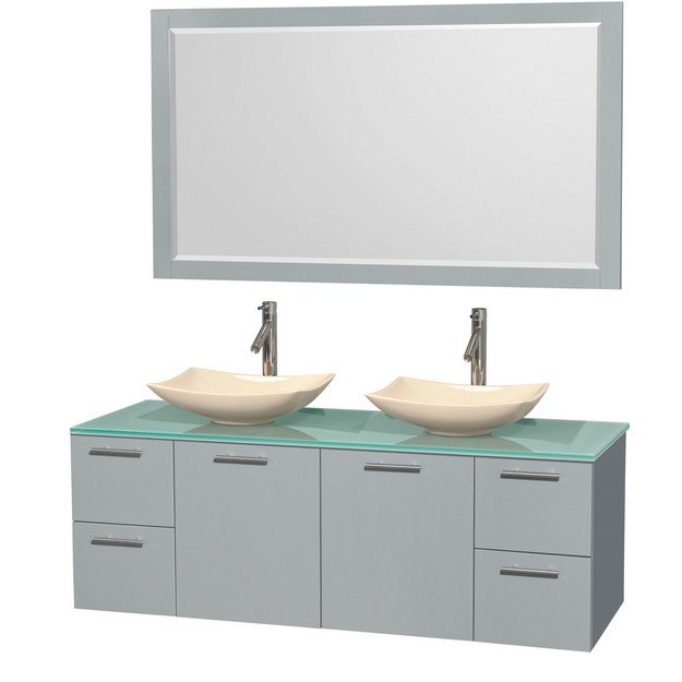 Wyndham collection wcr410060ddggggs5m58 amare 60 inch double bathroom vanity in dove gray green for 58 inch double bathroom vanity